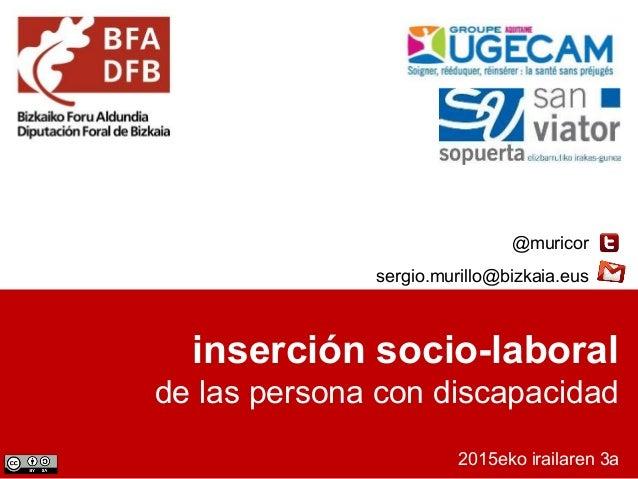 inserción socio-laboral de las persona con discapacidad 2015eko irailaren 3a @muricor sergio.murillo@bizkaia.eus