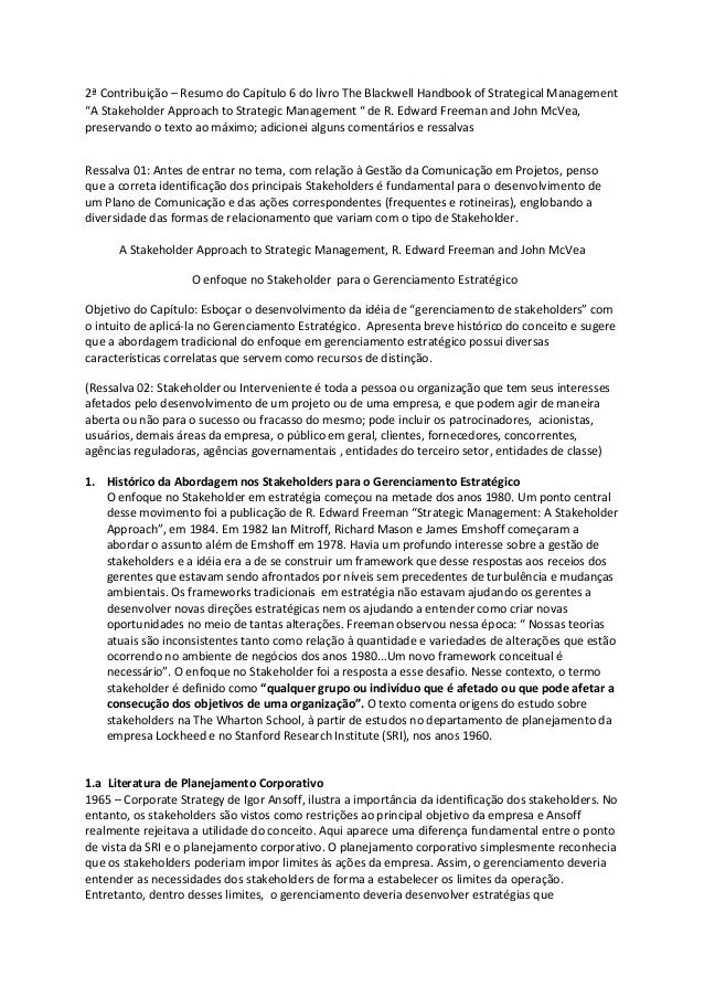 "2ª Contribuição – Resumo do Capítulo 6 do livro The Blackwell Handbook of Strategical Management ""A Stakeholder Approach t..."