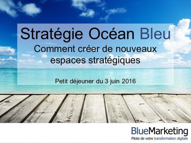 Stratégie Océan Bleu Comment créer de nouveaux espaces stratégiques Petit déjeuner du 3 juin 2016
