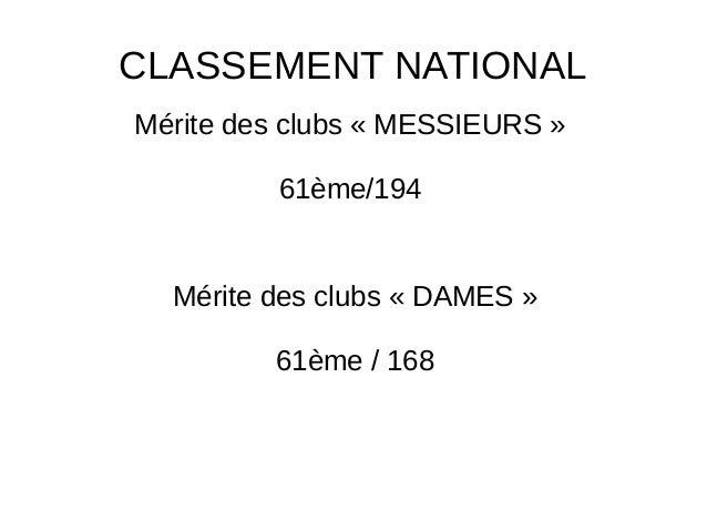 CLASSEMENT NATIONAL Mérite des clubs « MESSIEURS » 61ème/194 Mérite des clubs « DAMES » 61ème / 168