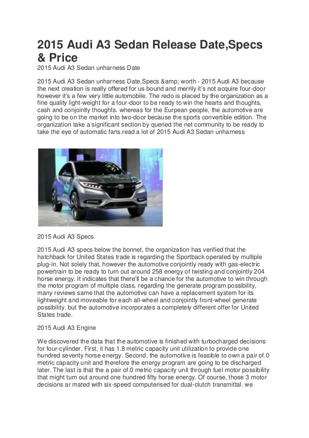 2015 audi a3 sedan release date