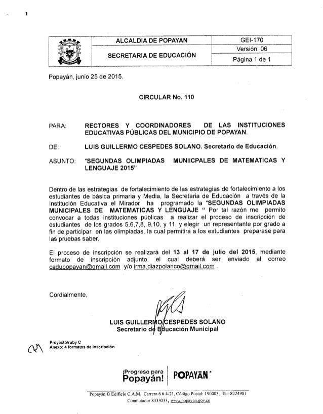 ALCALDIA DE POPAYAN GEI-iio     'Versión:  06 SECRETARIA DE EDUCACIÓN ,  . ' t  Pagina 1 de 1  Popayán,  junio 25 de 2015....