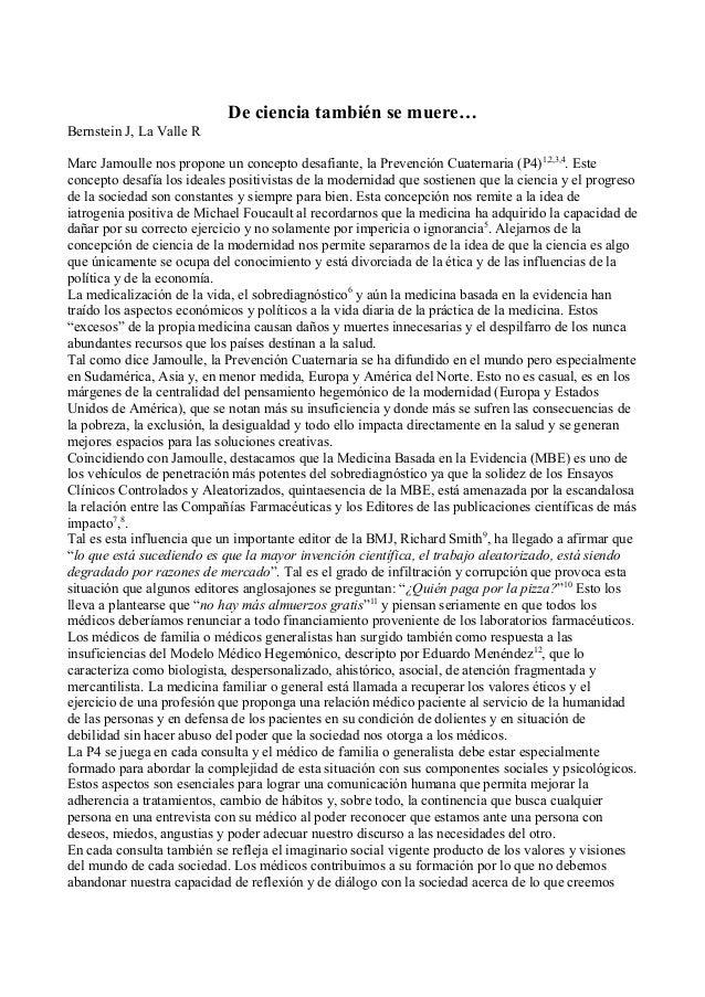 De ciencia también se muere… Bernstein J, La Valle R Marc Jamoulle nos propone un concepto desafiante, la Prevención Cuate...