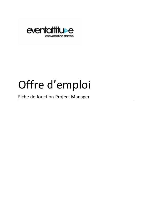 Offre d'emploi Fiche de fonction Project Manager