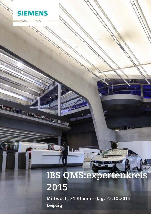 1 Magazin Title | Category IBS QMS:expertenkreis 2015 Mittwoch, 21./Donnerstag, 22.10.2015 Leipzig