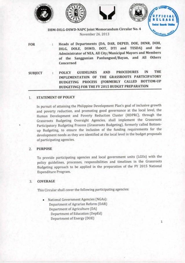 DBM-DILG-DSWD-NAPC  Joint Memorandum  November  Circular  NO.4  26,2013  Heads  of Departments  (DA, DAR, DEPED, DOE, DENR...