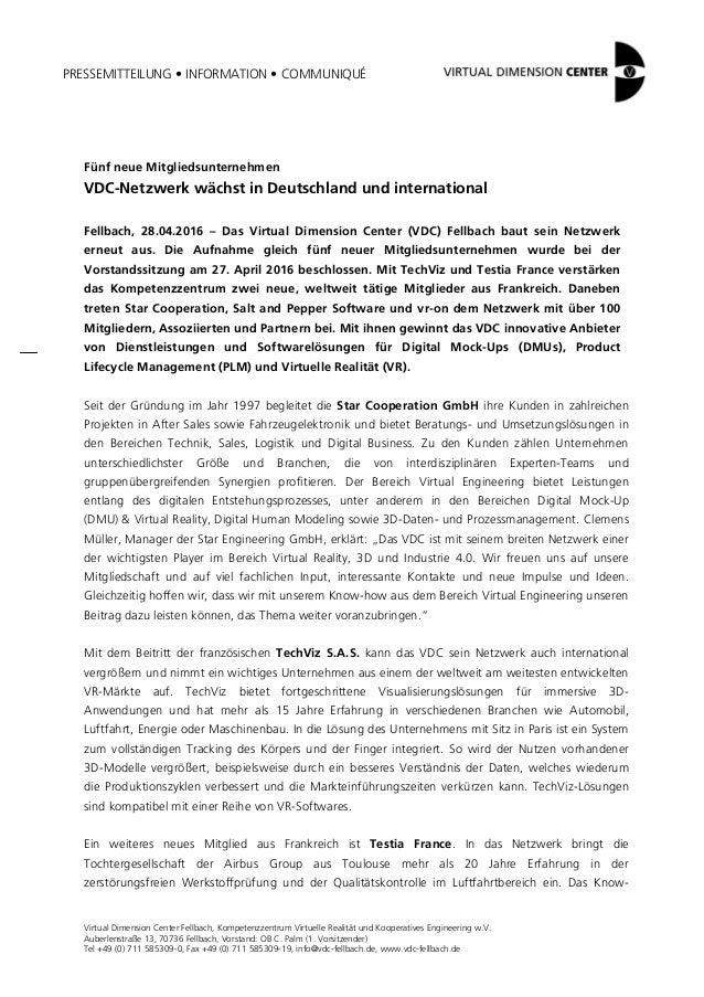 PRESSEMITTEILUNG • INFORMATION • COMMUNIQUÉ Virtual Dimension Center Fellbach, Kompetenzzentrum Virtuelle Realität und Koo...