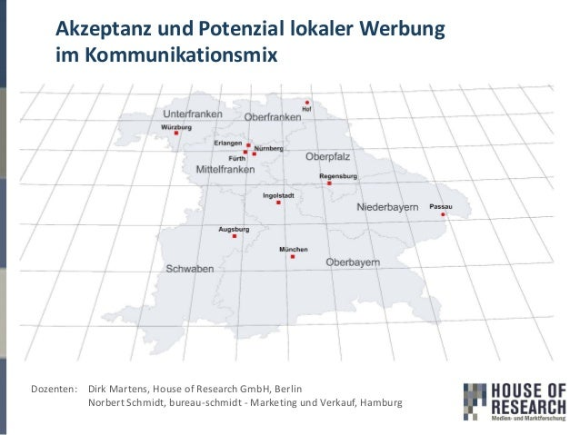 Akzeptanz und Potenzial lokaler Werbung im Kommunikationsmix Dozenten: Dirk Martens, House of Research GmbH, Berlin Norber...
