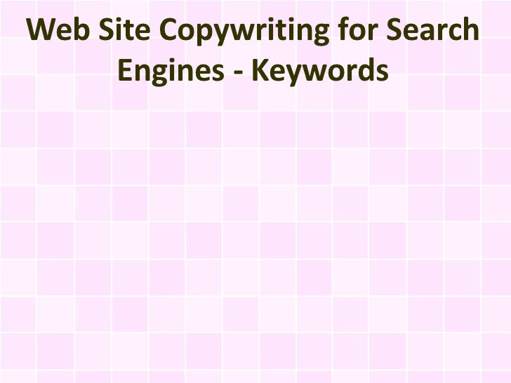 Web Site Copywriting for Search Engines - Keywords