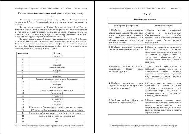 инструкция по выполнению егэ по русскому языку 2016 год