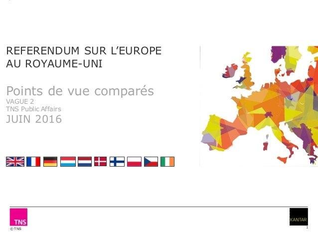 © TNS 1 REFERENDUM SUR L'EUROPE AU ROYAUME-UNI Points de vue comparés VAGUE 2 TNS Public Affairs JUIN 2016