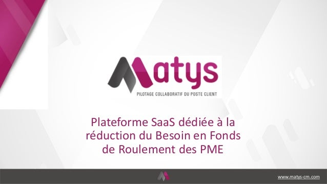 Plateforme SaaS dédiée à la réduction du Besoin en Fonds de Roulement des PME www.matys-cm.com