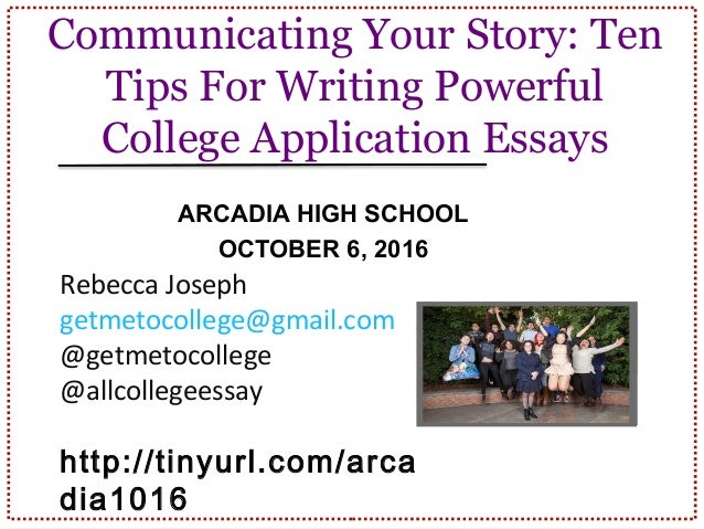 Tips on writing application essay?!?