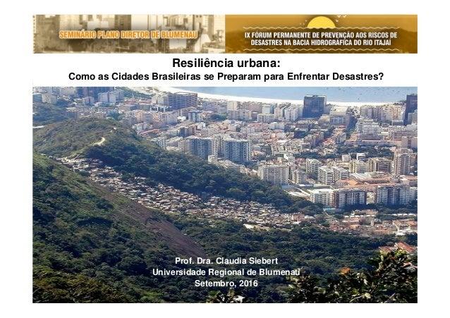 Resiliência urbana: Como as Cidades Brasileiras se Preparam para Enfrentar Desastres? Prof. Dra. Claudia Siebert Universid...