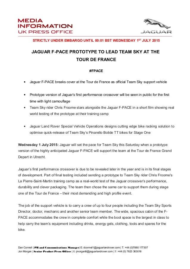2016 Jaguar F Pace Suv Prototype Press Release