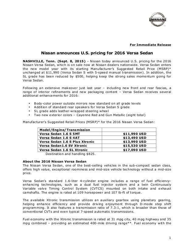 2016 Nissan Versa Sedan Pricing Release 9 15