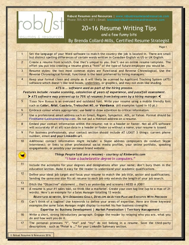 Resume writing tips and tricks