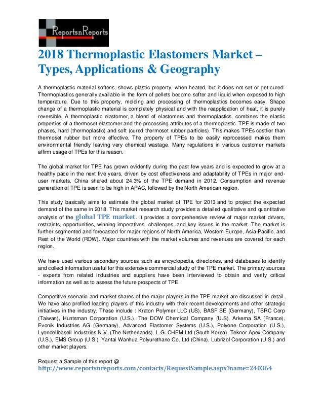 2018 Thermoplastic Elastomers Market