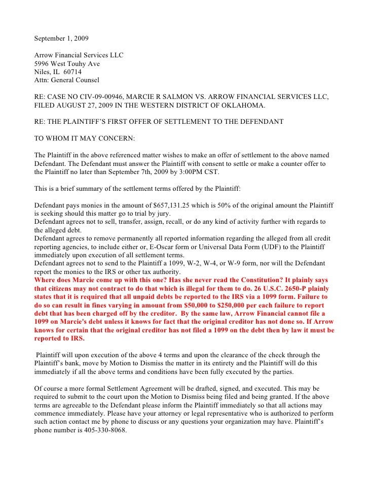 September 1, 2009  Arrow Financial Services LLC 5996 West Touhy Ave Niles, IL 60714 Attn: General Counsel  RE: CASE NO CIV...
