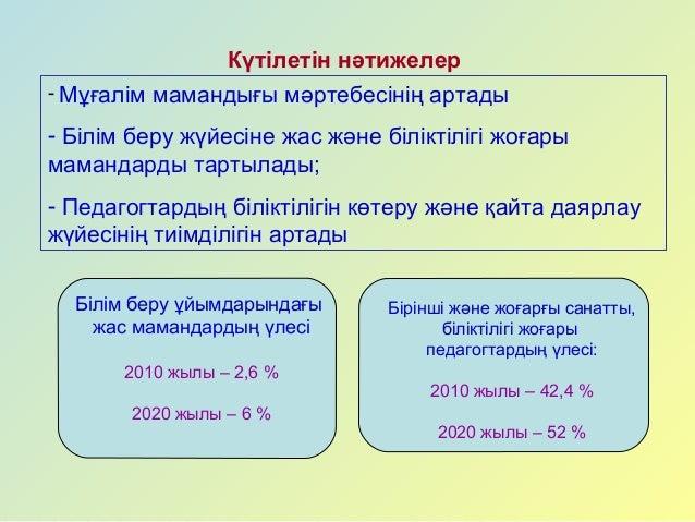 ҚАЗАҚСТАН РЕСПУБЛИКАСЫНЫҢ 2011-2020 ЖЫЛДАРҒА АРНАЛҒАН БІЛІМ БЕРУДІ ДА…