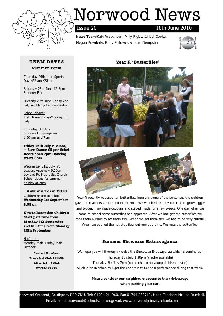 Norwood News                                          Issue 20                                             18th June 2010 ...