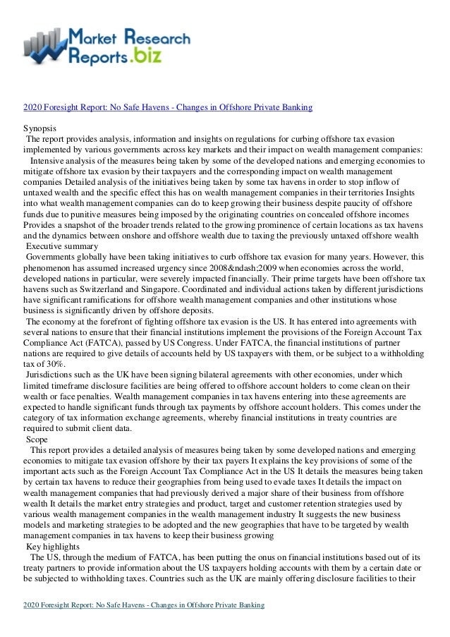 Report on No Safe Havens - Changes in Offshore Private Banking by MarketResearchReports.biz