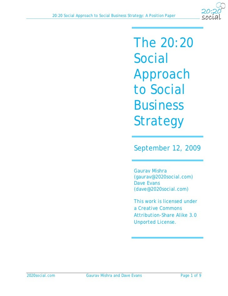 20:20 Social Approach to Social Business Strategy: A Position Paper                                                       ...