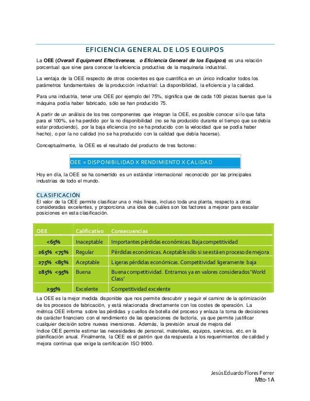 JesúsEduardoFlores Ferrer Mtto-1A EFICIENCIA GENERAL DE LOS EQUIPOS La OEE (Overall Equipment Effectiveness, o Eficiencia ...