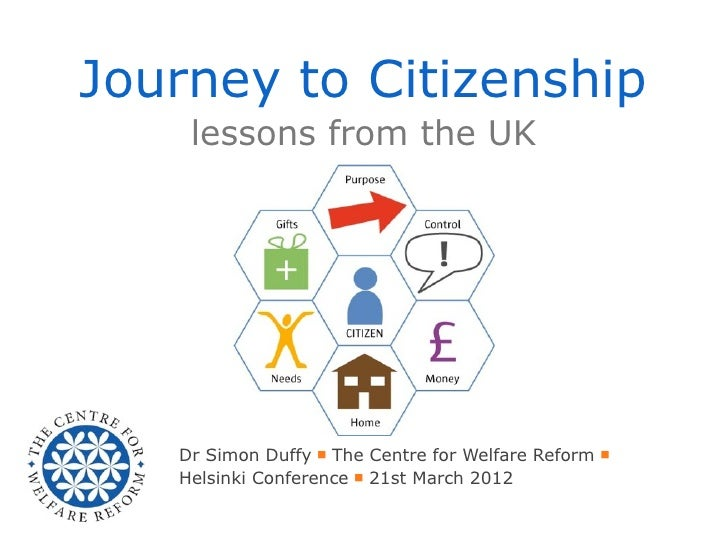 Journey to Citizenship    lessons from the UK   Dr Simon Duffy ■ The Centre for Welfare Reform ■   Helsinki Conference ■ 2...
