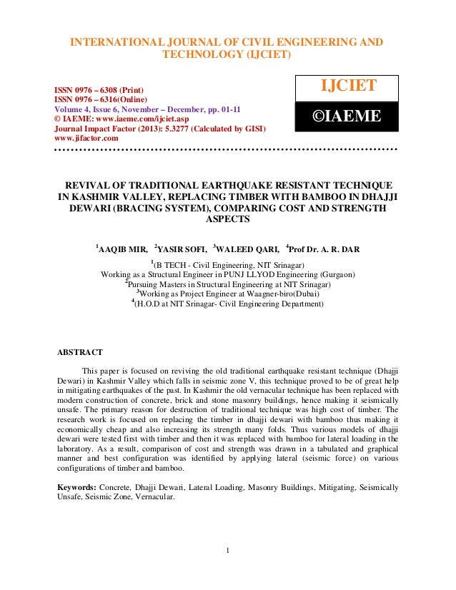 International Journal of Civil Engineering OF CIVIL ENGINEERING AND INTERNATIONAL JOURNAL and Technology (IJCIET), ISSN 09...