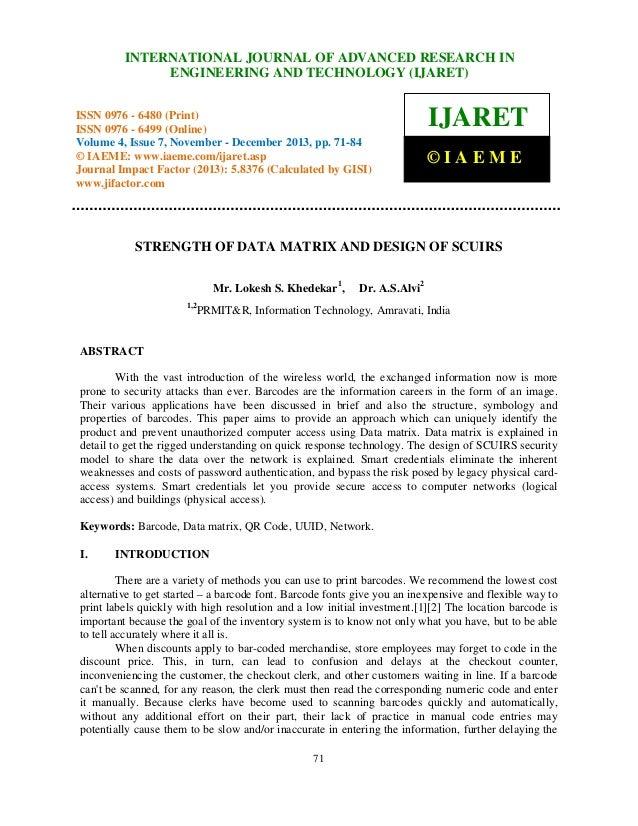 International Journal of Advanced JOURNAL OF ADVANCED RESEARCH ISSN 0976 – INTERNATIONAL Research in Engineering and Techn...