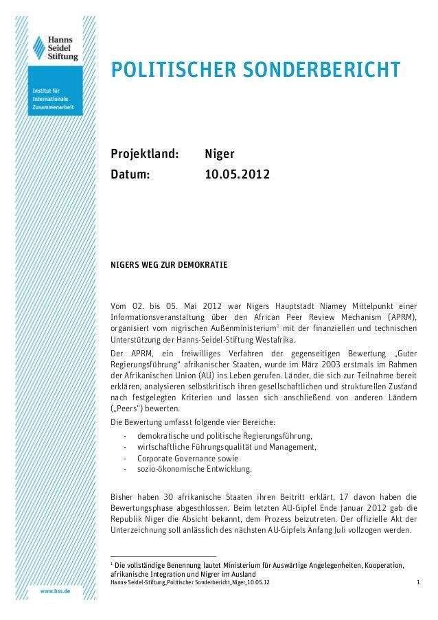 Hanns-Seidel-Stiftung_Politischer Sonderbericht_Niger_10.05.12 1 POLITISCHER SONDERBERICHT Projektland: Niger Datum: 10.05...