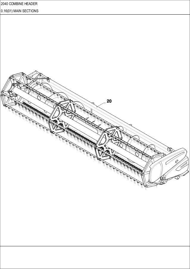 CASE 2040 Combine header parts catalog
