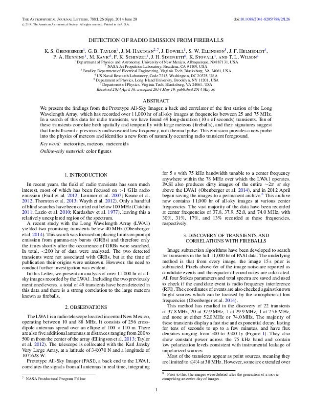 The Astrophysical Journal Letters, 788:L26 (6pp), 2014 June 20 doi:10.1088/2041-8205/788/2/L26 C 2014. The American Astron...
