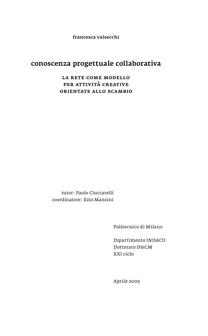 2009| PhD thesis - Conoscenza progettuale collaborativa
