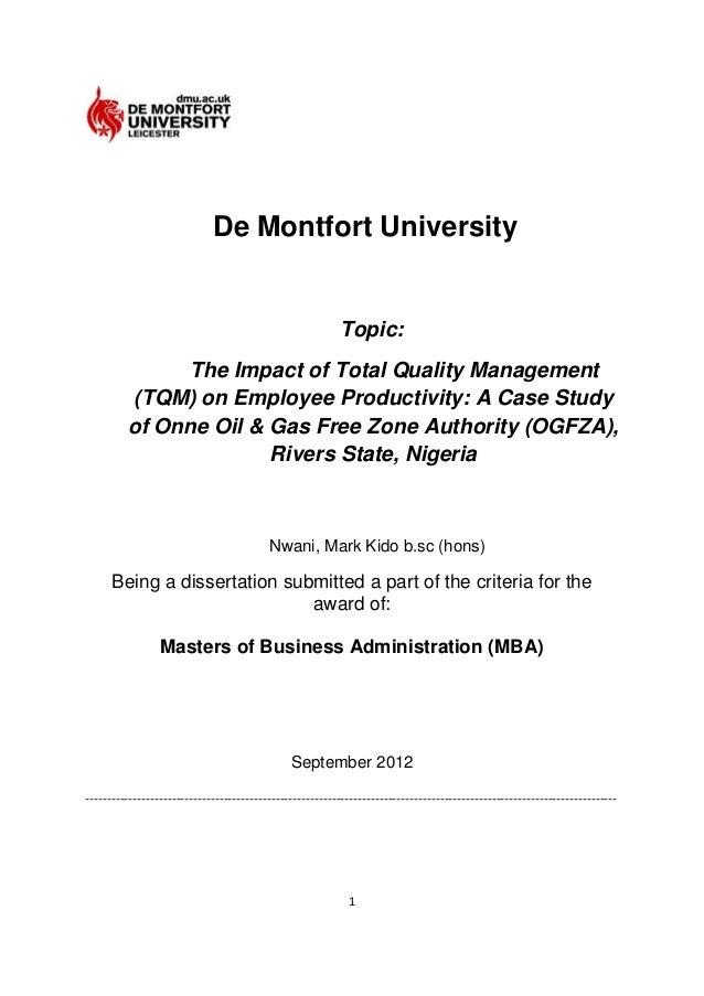 Phd thesis in total quality management