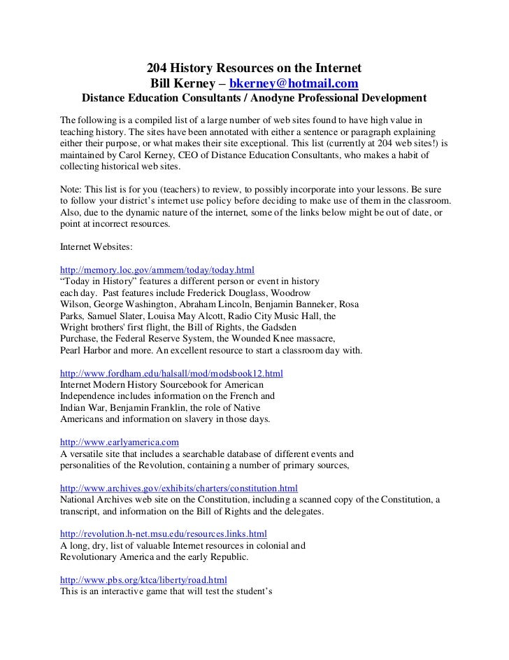 204 History Resources on the Internet                       Bill Kerney – bkerney@hotmail.com     Distance Education Consu...