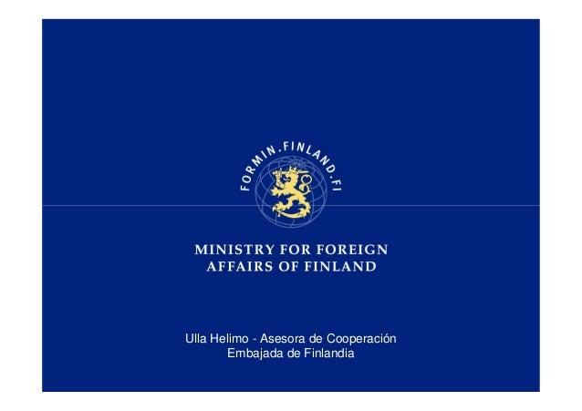 Ulla Helimo - Asesora de Cooperación Embajada de Finlandia