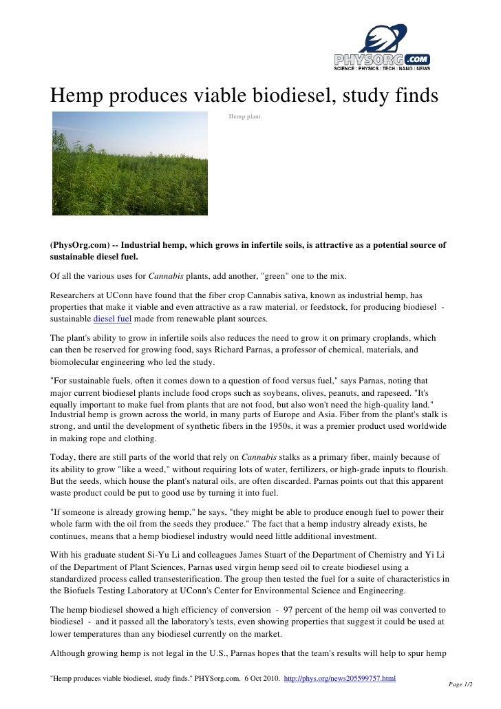 Industrial Hemp Produces Viable Biodiesel Fuel