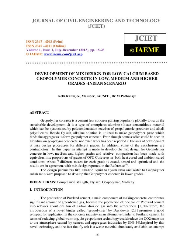 Journal of Civil Engineering and Technology (JCIET), ISSN 2347 –4203 (Print), ISSN 2347 4211 (Online) Volume 1, Issue 1, J...