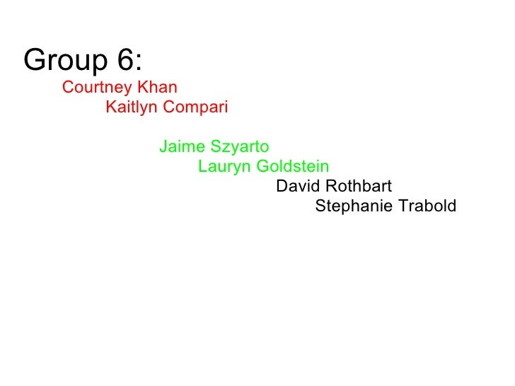 Group 6:            Courtney Khan                   Kaitlyn Compari                                    Jaime Szyarto      ...
