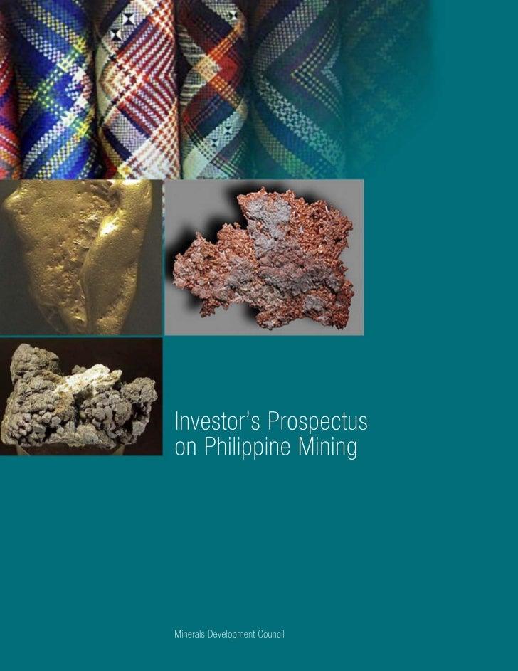 Investor's Prospectus on Philippine Mining              Minerals Development Council                Republic of the Philip...