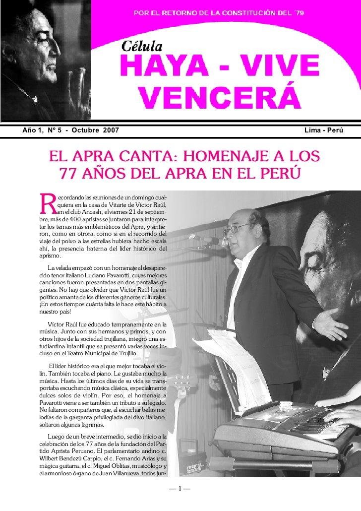 HA -VIVE, VENCERÁ                                                                       YA     Año 1, Nº 5 - Octubre 2007 ...
