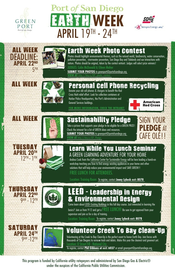 EARTH WEEK                                  APRIL 19 - 24                     TH                      TH   ALL WEEK       ...