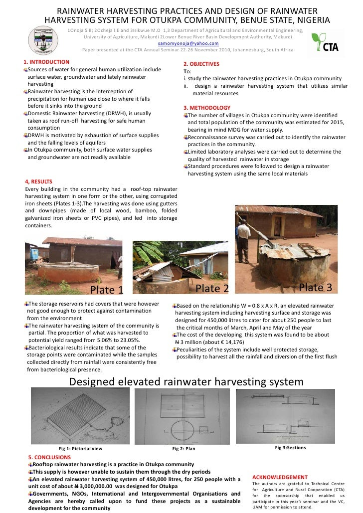 RAINWATER HARVESTING PRACTICES AND DESIGN OF RAINWATER        HARVESTING SYSTEM FOR OTUKPA COMMUNITY, BENUE STATE, NIGERIA...