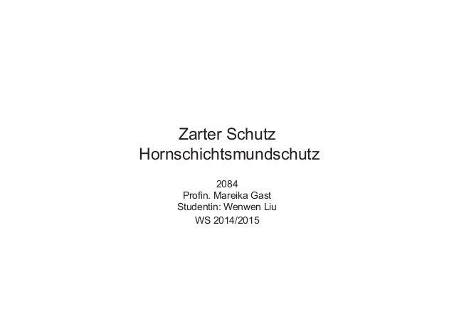 2084 Profin. Mareika Gast Studentin: Wenwen Liu WS 2014/2015 Zarter Schutz Hornschichtsmundschutz