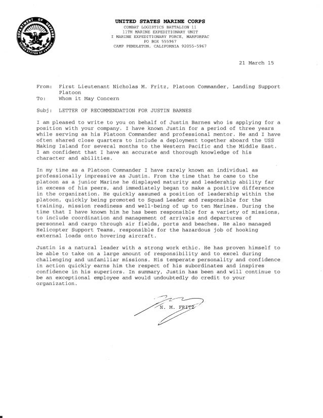 How to write letter of recommendation punishment commander