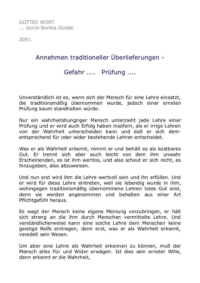GOTTES WORT ... durch Bertha Dudde 2091 Annehmen traditioneller Überlieferungen - Gefahr .... Prüfung .... Unverständlich ...