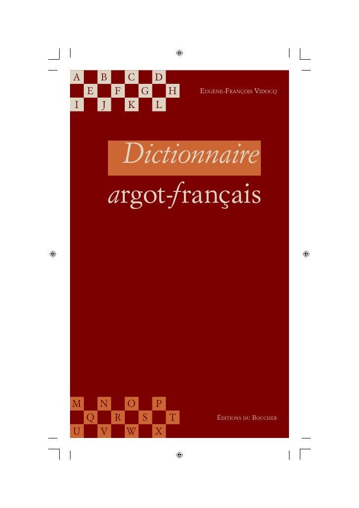 2092093 Vidocq Dictionnaire Argotfrancais