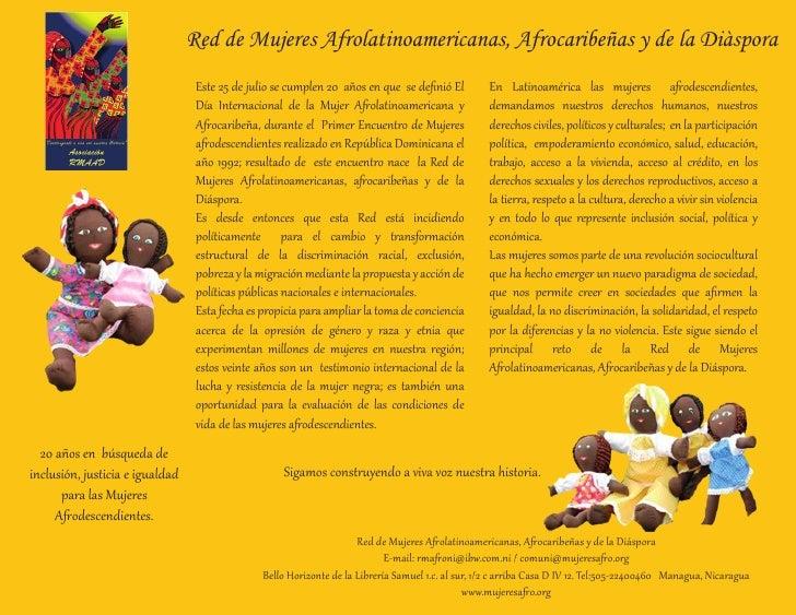 Red de Mujeres Afrolatinoamericanas, Afrocaribeñas y de la Diàspora                                  Este 25 de julio se c...